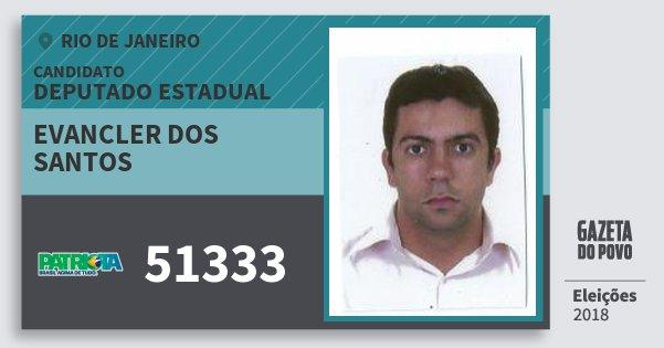 Santinho Evancler dos Santos 51333 (PATRI) Deputado Estadual | Rio de Janeiro | Eleições 2018