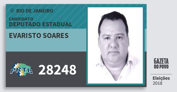 Santinho Evaristo Soares 28248 (PRTB) Deputado Estadual | Rio de Janeiro | Eleições 2018