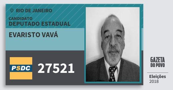 Santinho Evaristo Vavá 27521 (DC) Deputado Estadual | Rio de Janeiro | Eleições 2018