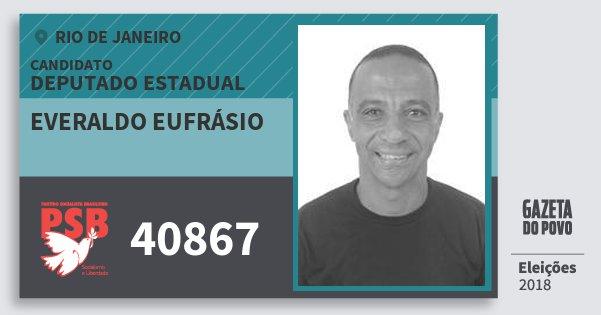 Santinho Everaldo Eufrásio 40867 (PSB) Deputado Estadual | Rio de Janeiro | Eleições 2018