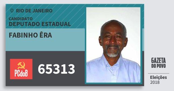Santinho Fabinho Êra 65313 (PC do B) Deputado Estadual | Rio de Janeiro | Eleições 2018