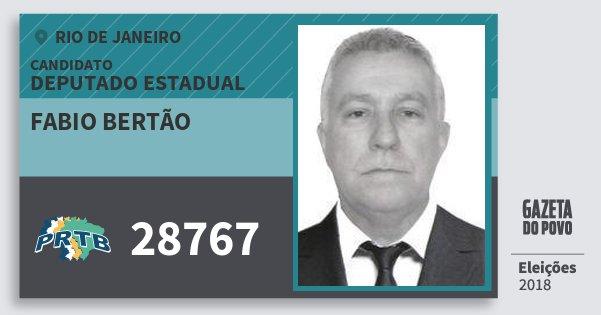 Santinho Fabio Bertão 28767 (PRTB) Deputado Estadual | Rio de Janeiro | Eleições 2018
