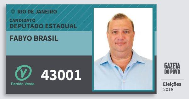 Santinho Fabyo Brasil 43001 (PV) Deputado Estadual | Rio de Janeiro | Eleições 2018