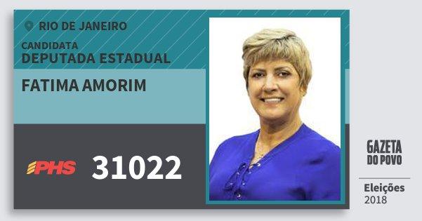 Santinho Fatima Amorim 31022 (PHS) Deputada Estadual | Rio de Janeiro | Eleições 2018