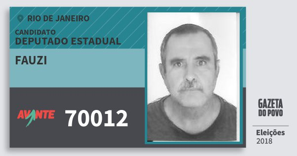 Santinho Fauzi 70012 (AVANTE) Deputado Estadual | Rio de Janeiro | Eleições 2018