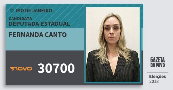 Santinho Fernanda Canto 30700 (NOVO) Deputada Estadual | Rio de Janeiro | Eleições 2018
