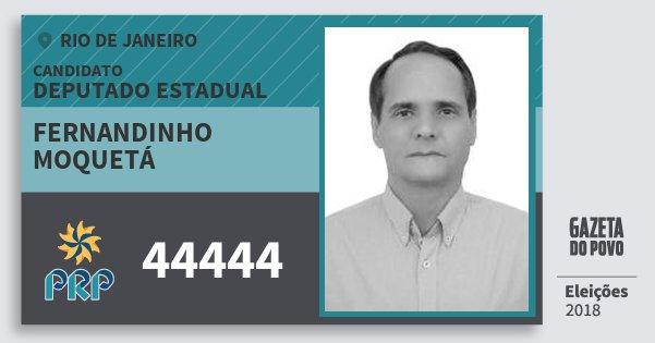 Santinho Fernandinho Moquetá 44444 (PRP) Deputado Estadual | Rio de Janeiro | Eleições 2018