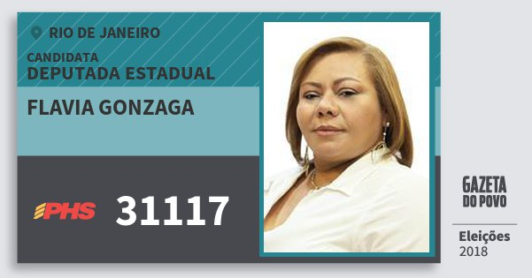 Santinho Flavia Gonzaga 31117 (PHS) Deputada Estadual | Rio de Janeiro | Eleições 2018