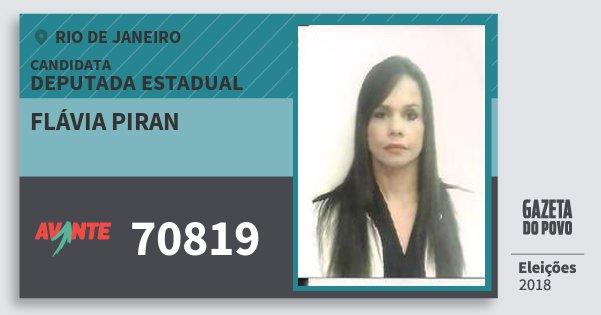 Santinho Flávia Piran 70819 (AVANTE) Deputada Estadual | Rio de Janeiro | Eleições 2018