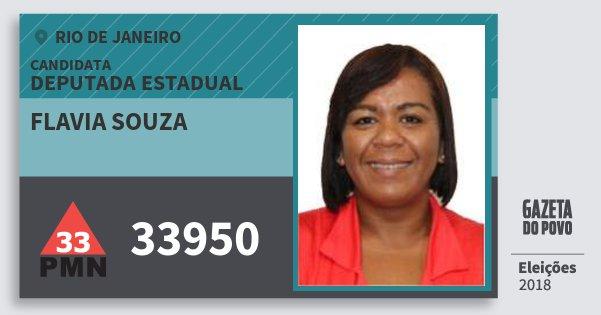 Santinho Flavia Souza 33950 (PMN) Deputada Estadual | Rio de Janeiro | Eleições 2018