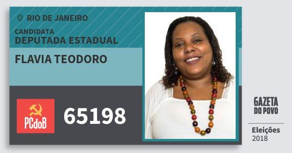 Santinho Flavia Teodoro 65198 (PC do B) Deputada Estadual | Rio de Janeiro | Eleições 2018