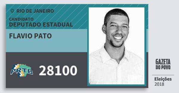 Santinho Flavio Pato 28100 (PRTB) Deputado Estadual | Rio de Janeiro | Eleições 2018