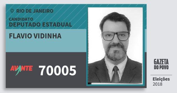 Santinho Flavio Vidinha 70005 (AVANTE) Deputado Estadual | Rio de Janeiro | Eleições 2018