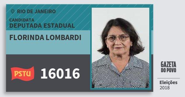 Santinho Florinda Lombardi 16016 (PSTU) Deputada Estadual | Rio de Janeiro | Eleições 2018