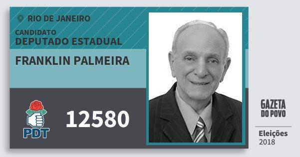 Santinho Franklin Palmeira 12580 (PDT) Deputado Estadual | Rio de Janeiro | Eleições 2018