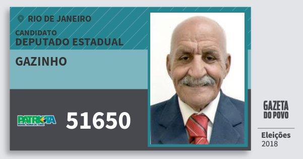 Santinho Gazinho 51650 (PATRI) Deputado Estadual | Rio de Janeiro | Eleições 2018