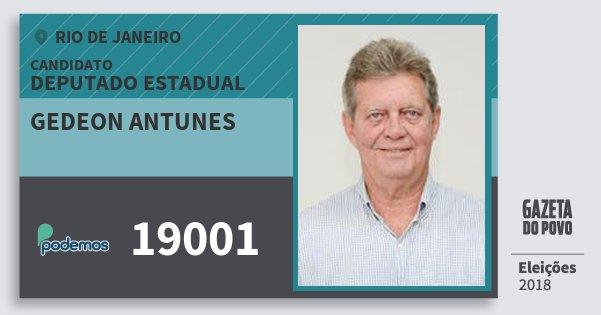 Santinho Gedeon Antunes 19001 (PODE) Deputado Estadual | Rio de Janeiro | Eleições 2018