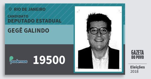 Santinho Gegê Galindo 19500 (PODE) Deputado Estadual   Rio de Janeiro   Eleições 2018