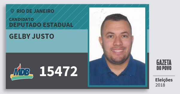 Santinho Gelby Justo 15472 (MDB) Deputado Estadual | Rio de Janeiro | Eleições 2018