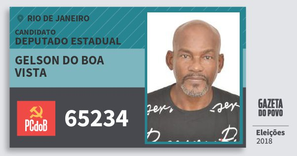 Santinho Gelson do Boa Vista 65234 (PC do B) Deputado Estadual | Rio de Janeiro | Eleições 2018