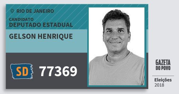 Santinho Gelson Henrique 77369 (SOLIDARIEDADE) Deputado Estadual | Rio de Janeiro | Eleições 2018