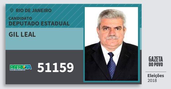 Santinho Gil Leal 51159 (PATRI) Deputado Estadual | Rio de Janeiro | Eleições 2018