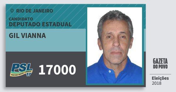 Santinho Gil Vianna 17000 (PSL) Deputado Estadual | Rio de Janeiro | Eleições 2018