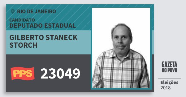 Santinho Gilberto Staneck Storch 23049 (PPS) Deputado Estadual | Rio de Janeiro | Eleições 2018