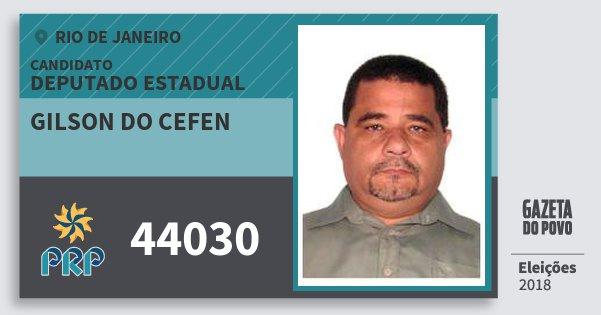 Santinho Gilson do Cefen 44030 (PRP) Deputado Estadual | Rio de Janeiro | Eleições 2018