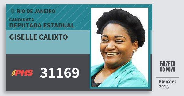 Santinho Giselle Calixto 31169 (PHS) Deputada Estadual | Rio de Janeiro | Eleições 2018