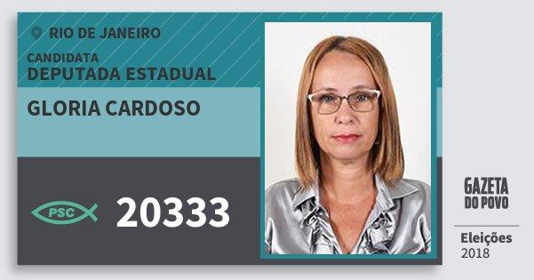 Santinho Gloria Cardoso 20333 (PSC) Deputada Estadual | Rio de Janeiro | Eleições 2018