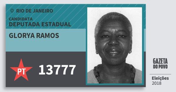 Santinho Glorya Ramos 13777 (PT) Deputada Estadual | Rio de Janeiro | Eleições 2018