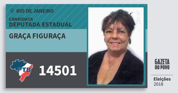 Santinho Graça Figuraça 14501 (PTB) Deputada Estadual | Rio de Janeiro | Eleições 2018