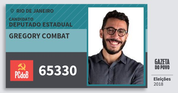 Santinho Gregory Combat 65330 (PC do B) Deputado Estadual | Rio de Janeiro | Eleições 2018