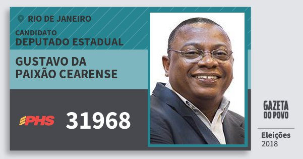 Santinho Gustavo da Paixão Cearense 31968 (PHS) Deputado Estadual | Rio de Janeiro | Eleições 2018