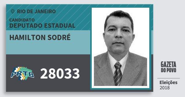 Santinho Hamilton Sodré 28033 (PRTB) Deputado Estadual | Rio de Janeiro | Eleições 2018