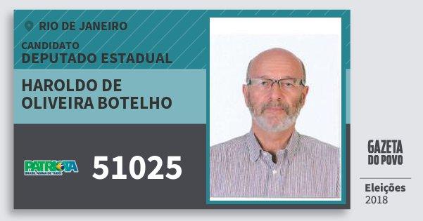 Santinho Haroldo de Oliveira Botelho 51025 (PATRI) Deputado Estadual | Rio de Janeiro | Eleições 2018