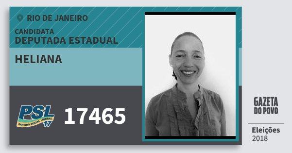 Santinho Heliana 17465 (PSL) Deputada Estadual | Rio de Janeiro | Eleições 2018