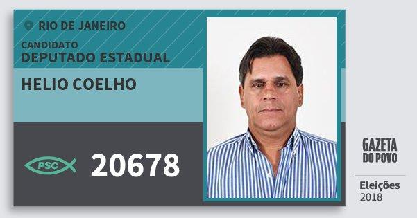 Santinho Helio Coelho 20678 (PSC) Deputado Estadual | Rio de Janeiro | Eleições 2018