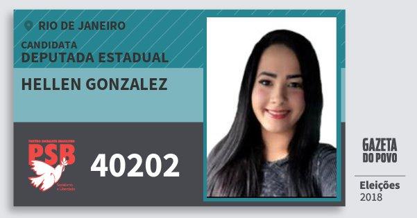 Santinho Hellen Gonzalez 40202 (PSB) Deputada Estadual | Rio de Janeiro | Eleições 2018