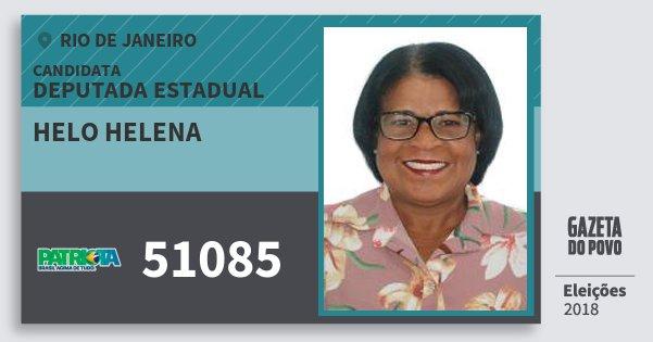 Santinho Helo Helena 51085 (PATRI) Deputada Estadual | Rio de Janeiro | Eleições 2018