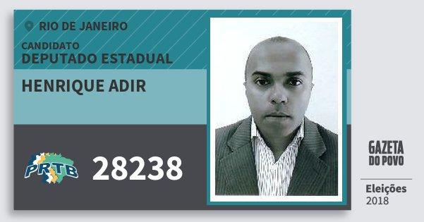 Santinho Henrique Adir 28238 (PRTB) Deputado Estadual | Rio de Janeiro | Eleições 2018