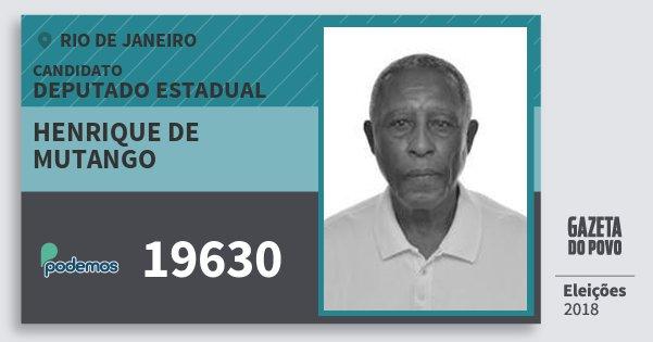 Santinho Henrique de Mutango 19630 (PODE) Deputado Estadual | Rio de Janeiro | Eleições 2018