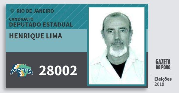 Santinho Henrique Lima 28002 (PRTB) Deputado Estadual | Rio de Janeiro | Eleições 2018