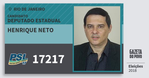 Santinho Henrique Neto 17217 (PSL) Deputado Estadual | Rio de Janeiro | Eleições 2018