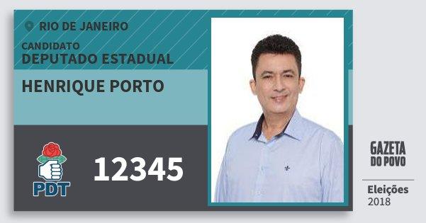 Santinho Henrique Porto 12345 (PDT) Deputado Estadual | Rio de Janeiro | Eleições 2018