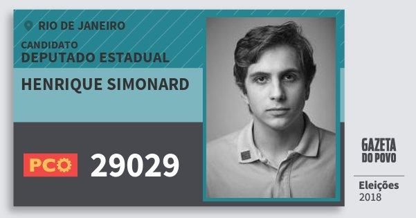 Santinho Henrique Simonard 29029 (PCO) Deputado Estadual | Rio de Janeiro | Eleições 2018