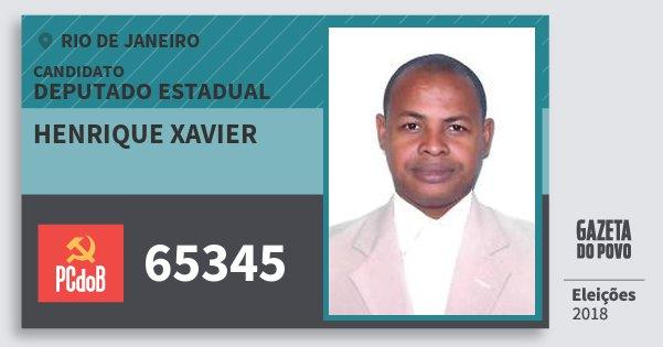 Santinho Henrique Xavier 65345 (PC do B) Deputado Estadual | Rio de Janeiro | Eleições 2018
