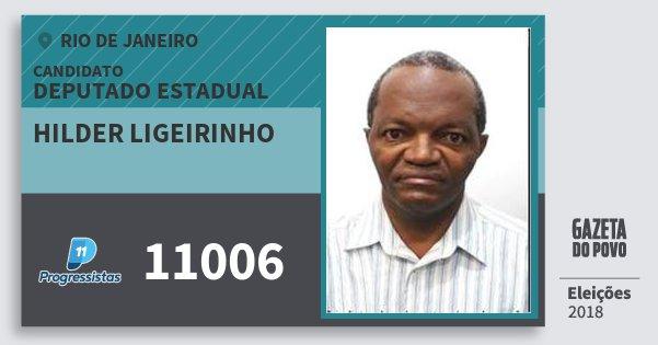 Santinho Hilder Ligeirinho 11006 (PP) Deputado Estadual | Rio de Janeiro | Eleições 2018