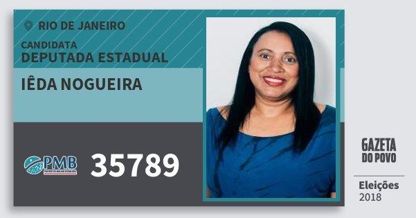 Santinho Iêda Nogueira 35789 (PMB) Deputada Estadual | Rio de Janeiro | Eleições 2018